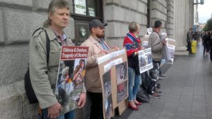 Humanitarian battalion «Ireland and England» held picket supporting Novorossia