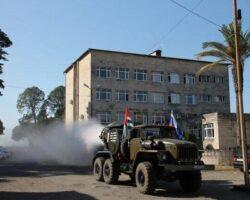 Отряд РХБ защиты провел дезинфекцию общественных объектов в Очамчырском районе
